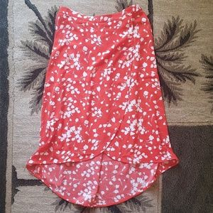 NWT  J. Crew  - FAUX-WRAP Red Floral Print